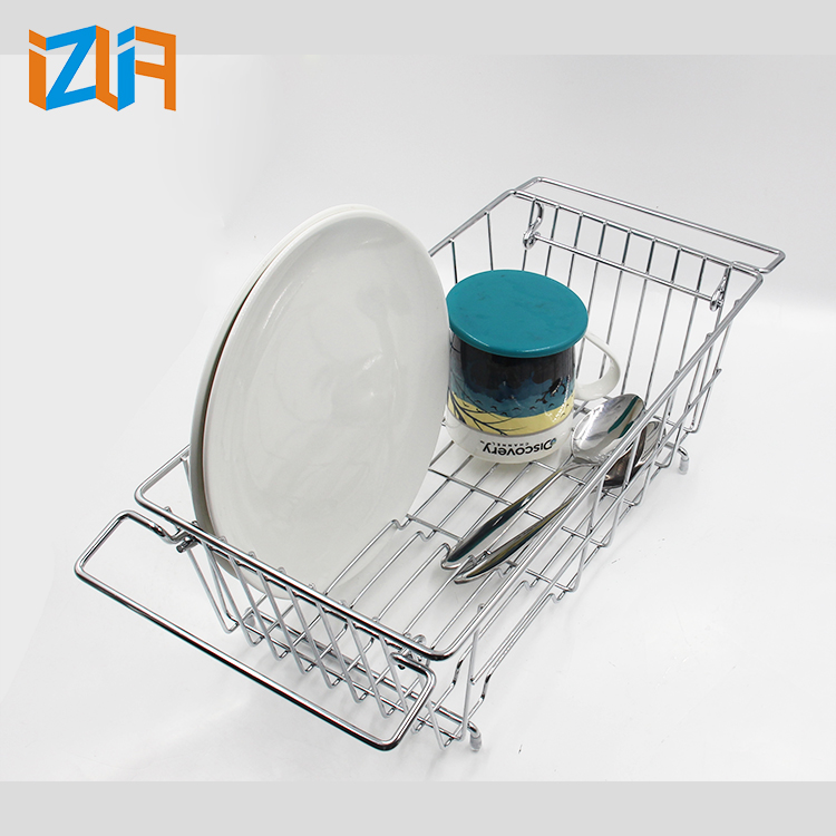 Modern Chrome Plated Wire Kitchen Organizer Dish Draining Rack