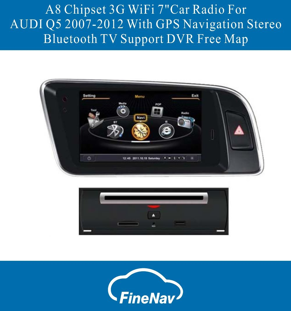 "A8 Chipset 3G WiFi 7""Car Radio For AUDI Q5 2007-2012 With GPS Navigation Stereo Bluetooth TV Support DVR Free Map"