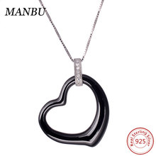 bijouterie ceramic necklace jewelry wholesale black and white heart shape DQN0055
