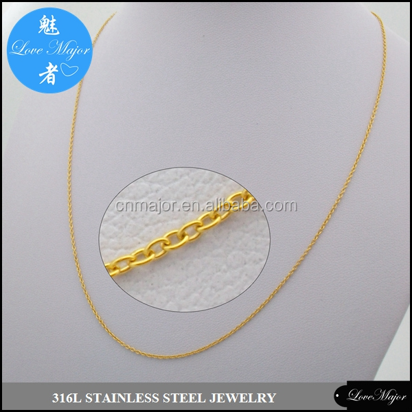 1.1mm Thin Rolo Cable Link Italian Chain Necklace gold stainless steel spring ring