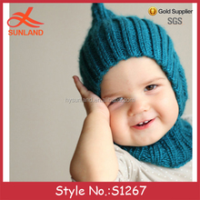 S1267 New hot sale warm and soft baby custom knitted balaclava hood hat with collar