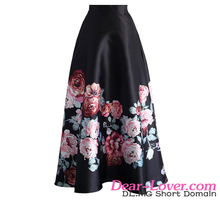 Wholesale Monochrome Floral Print High Waist Maxi <strong>Skirt</strong>