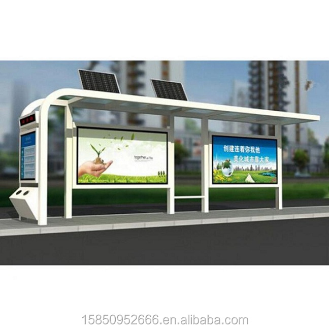 Popular used metal bus stop shelter with light box for sale