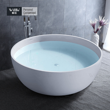 Circle Polymer Solid Surface 3 person bathtub for Hotel and Villa