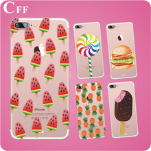 Girl Phone Case Fruit Ice cream Food Design For iPhone 5 5S SE Soft TPU Silicone Clear Phone Back Cover for iphone 6 wholesale