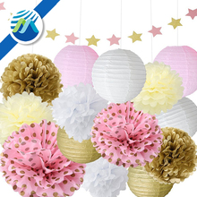 Paper Star Garland Tissue Pom Poms Hanging Flower Ball for Birthday Party,Wedding Decoration
