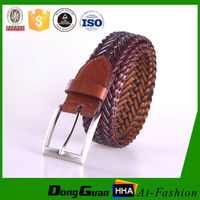 New style metal braided woven leather plainted brown crystal woman belts for jean