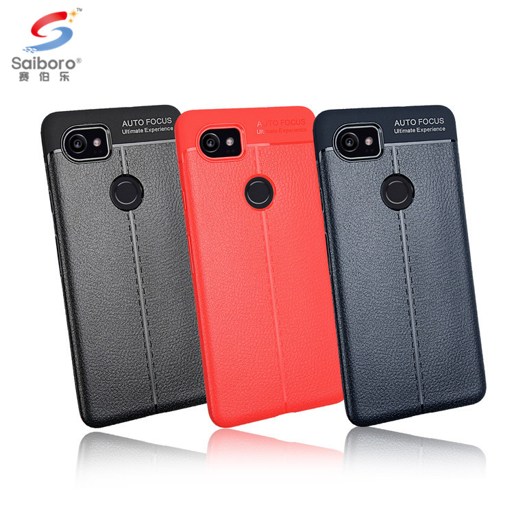 Phone accessories Carbon fiber tpu litchi leather phone case for google pixel 2 xl,for google pixel 2 xl back case cover