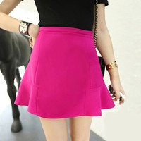 High Waist Short Plain Flared Pleated Hot Sexy Girls Cute Short Skirt 18845
