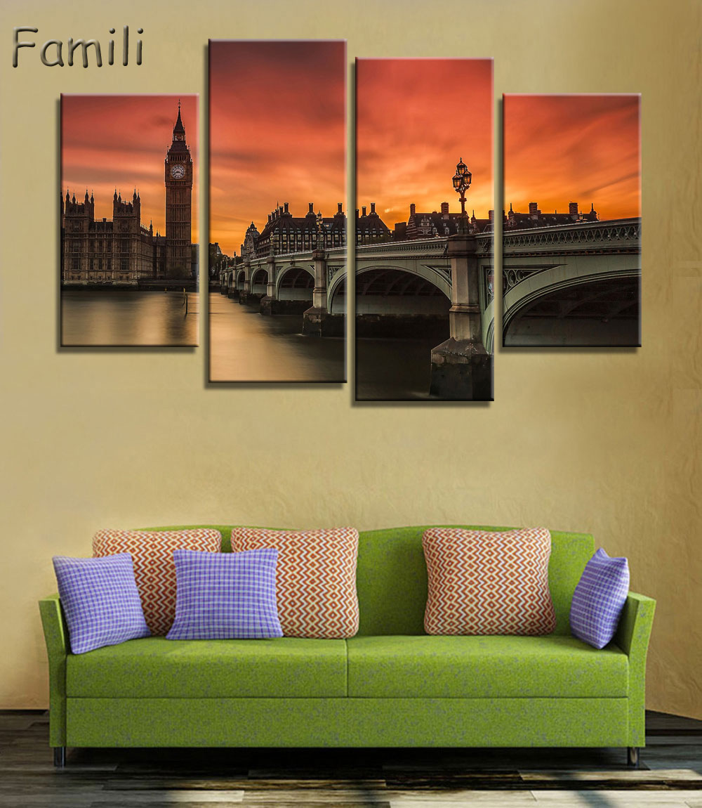 4 Panel Modern Printed London City Wall Painting Canvas Landscape ...