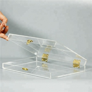 Acrylic lucite clear cube makeup organizer collection with lock