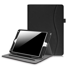 C&T Folio Stand Cover PU Leather Case Smart Wake/Sleep Feature with Pocket for iPad Pro 10.5 Inch Tablet
