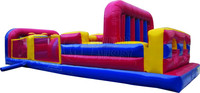 3 Lane red giant inflatable obstacle course