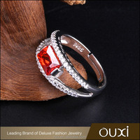 OUXI 2016 Korean design high quality red AAA zircon 925 sterling silver engagement ring Y70113