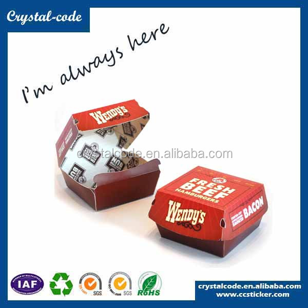 Made in China durable paper burger cardboard box food paper box