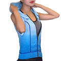 Women Running Sports Sweatshirts Hoodie Sleeveless Gradient Colors Fitness Gym Vest Super Elastic Tight Tops Customized