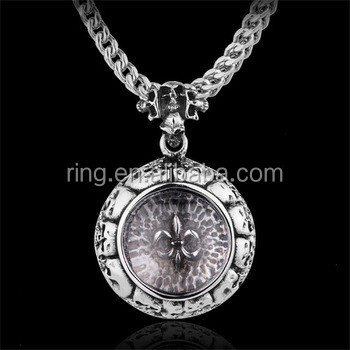 Wholesale High Quality round skull Pendant CZ Stainless Steel cross Square Necklace charm men Pendant