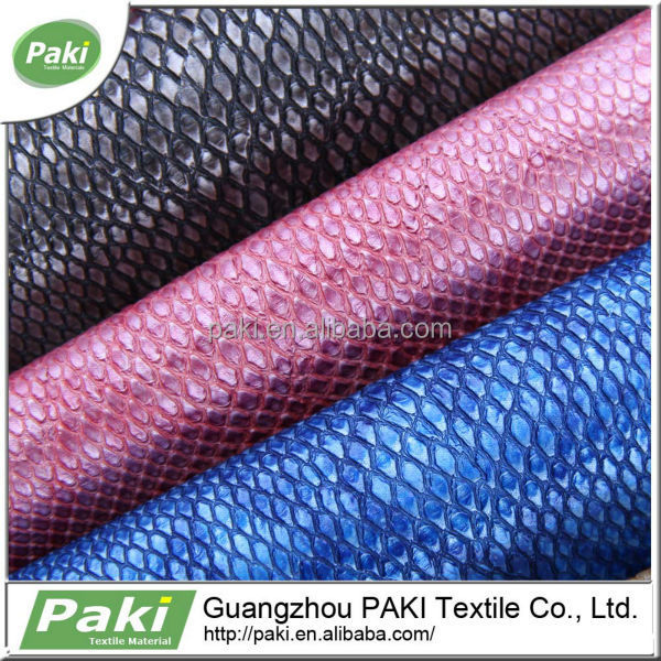 china supplier 1.1mm snake design pu coated raw leather prices for bag