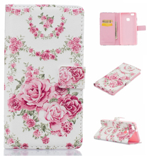 New design fashion sublimation painted leather back cover , PU flip leather cell phone case For Huawei P9 Lite