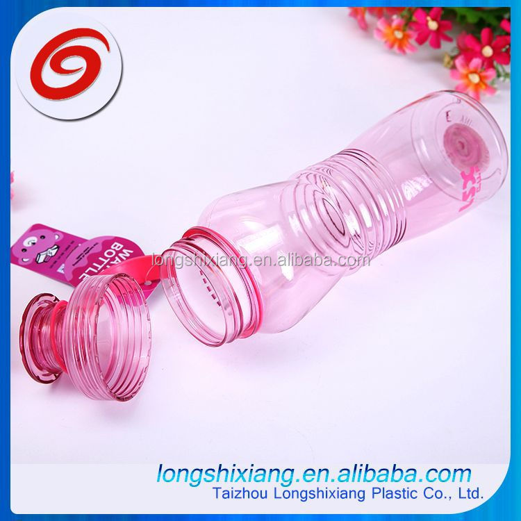 2015 clear plastic drinking water bottle with carabiner
