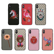 Amazon Hotsell 3D Cartoon Pattern Unique 2018 Case for iphone X 8 Fabric Lagging Silicone Cover for iPhone X Embroidered Case