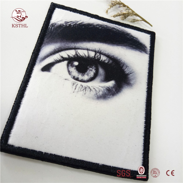 China wholesale cool digital printed iron  patches with embroidered border for clothing
