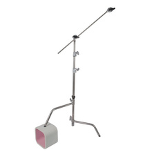 Hollywood 40&quot; Double Riser C stand with Sliding Leg, <strong>w</strong>/Grip Head and Arm - Silver and Black for your option