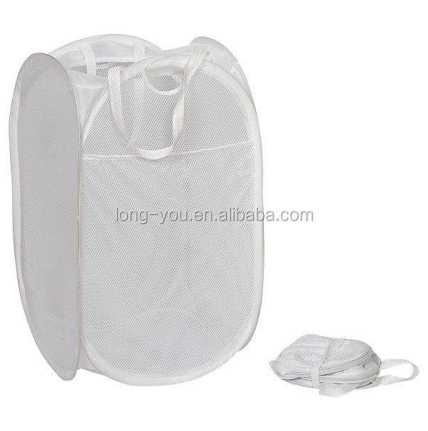 High quality White Pop up mesh laundry hamper
