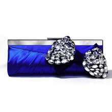 Lady Crystal Shoes matching high grade Bridal crystal stone satin clutch evening bags (LCHEB185)