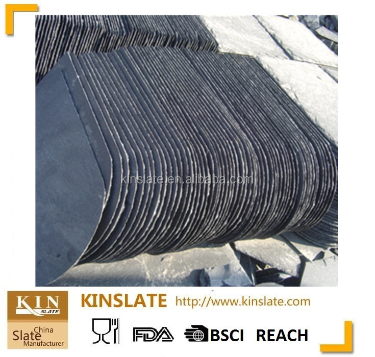Jiangxi Factory Natural Camber Shape black Slate Roofing Tiles