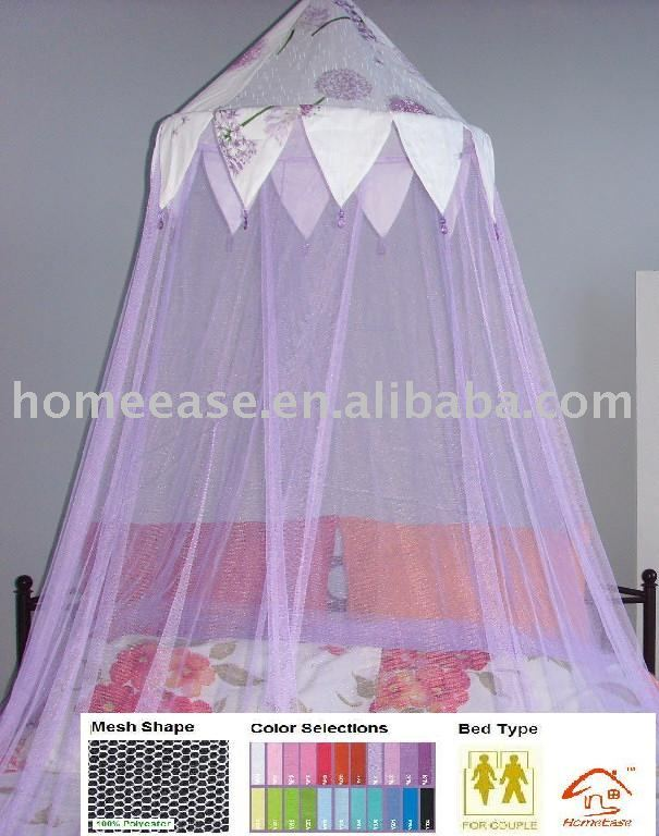 Double Mosquito net with Cotton Top and Beads / Double bed canopy with beads