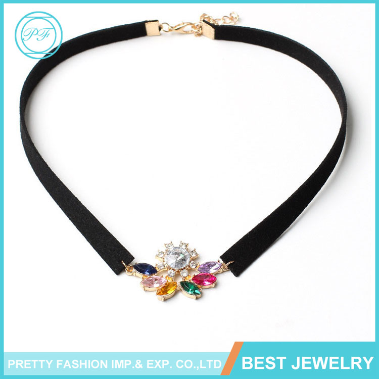 New Fancy Choker Colorful Heavy Crystal Jewelry Necklace For Women