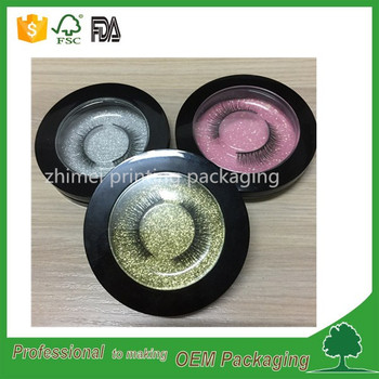 Factory made luxury custom round plastic eyelash box with glitter paper and plastic tray packaging for lashes