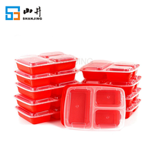 FDA approved durable plastic 3 compartment bento lunch boxe 32 oz meal perp disposable food storage container with leakproof lid