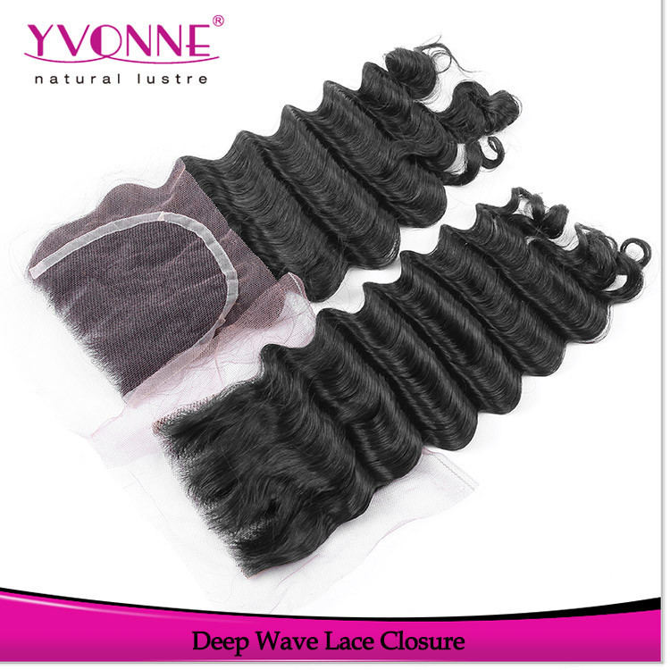2015 New arrival human hair products malaysian deep wave lace closure