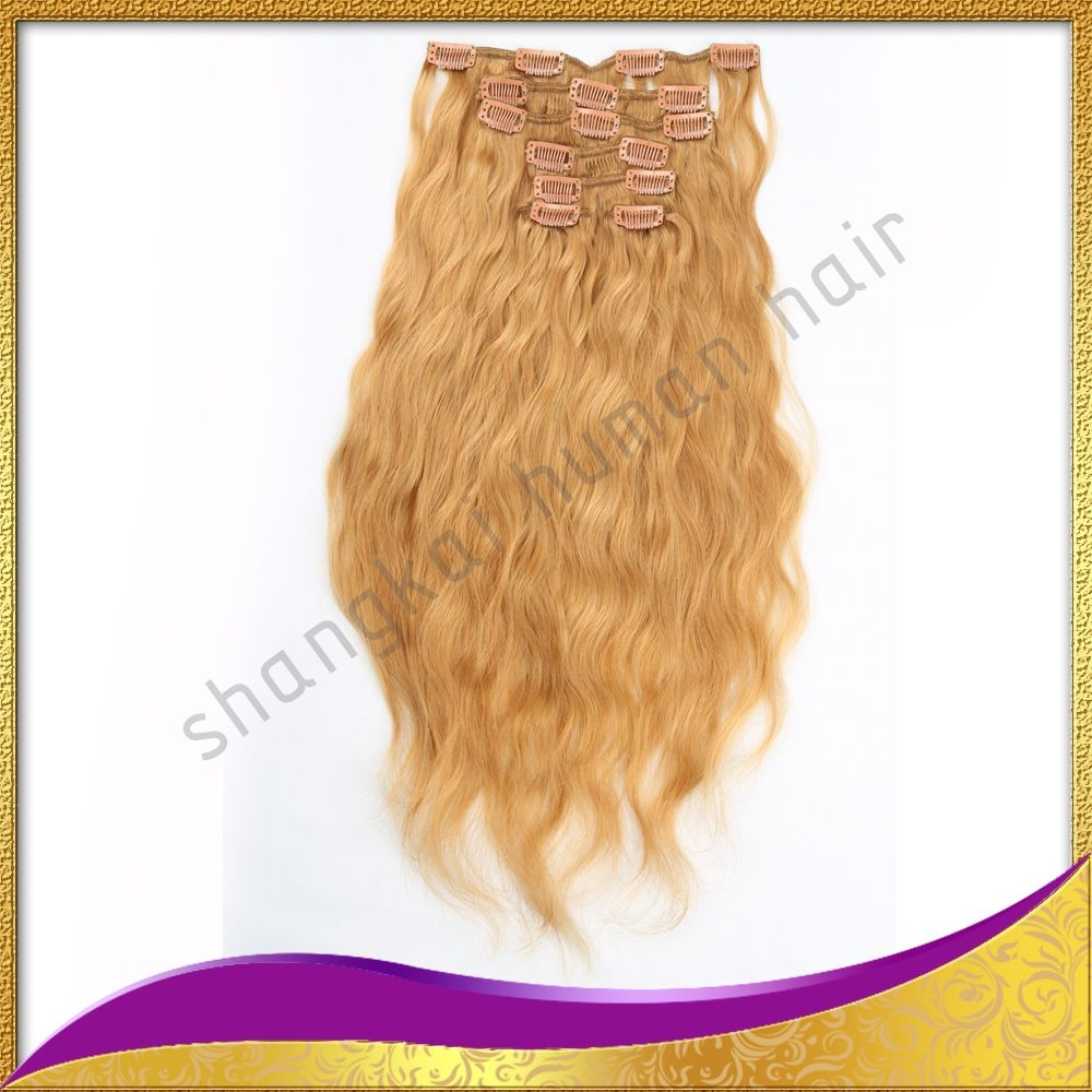 SHANGKAI Wholesale top quality tangle free no shedding full head cheap colored clip in hair extension