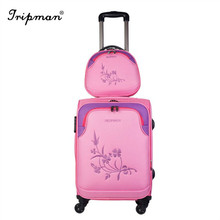 3 pcs set easy trolley 20/24/28 upright cheap rolling luggage case set with cosmetic bag