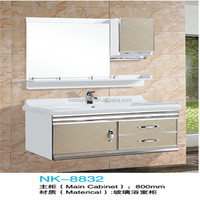 Wall mounted simple PVC bathroom vanity cabinet with glass door