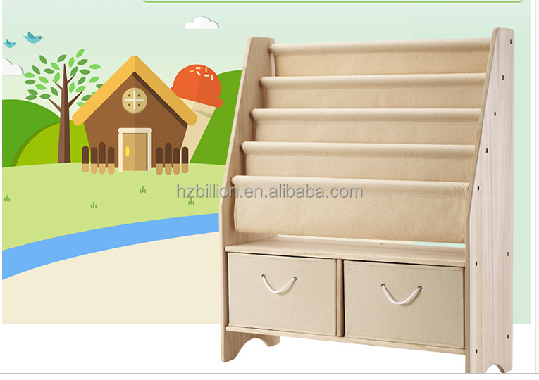 Popular Kindergarten Wooden kids Canvas bookshelf with Toy Storage box