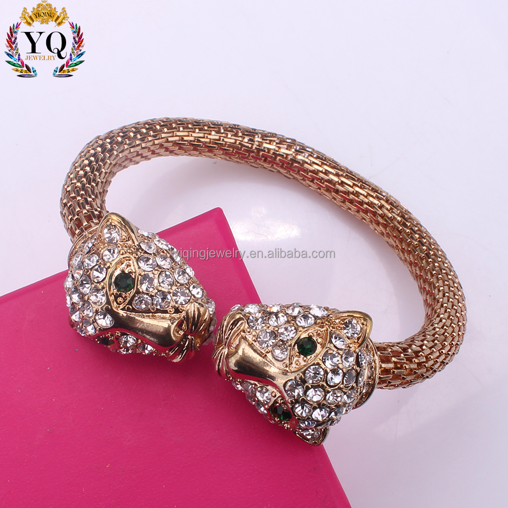 BYQ-00401 wholesale gold plated crystal double leopard designs cuff bangle bracelet for men