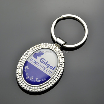 High quality oval Metal Keyring double sided with epoxy logo