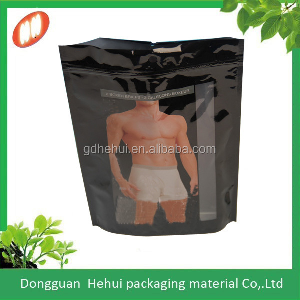 graphic printing zipper Plastic Garment Packaging Bag for Underwear