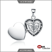 925 Sterling Silver Heart and Arrow Prayer Box Locket Pendant
