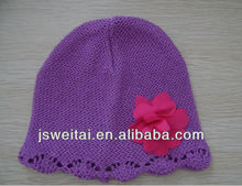 children knitted hat with flower