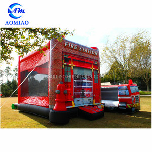 Commercial used bounc house, kids fire station inflatable jumping castle combo water slide for sale