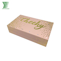 Fancy Customized Pink Paper Packaging Box with Gold Logo Hot Stamping