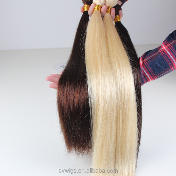Hand tied high quality silk straight blonde sew in human hair extensions