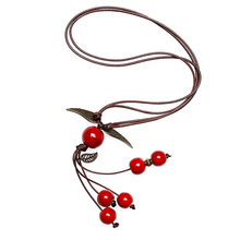 New red beads pendant charm ceramic necklace long sweater ceramic necklace women