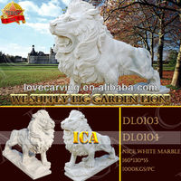 white marble lion statue,lion carving, for garden DL0103