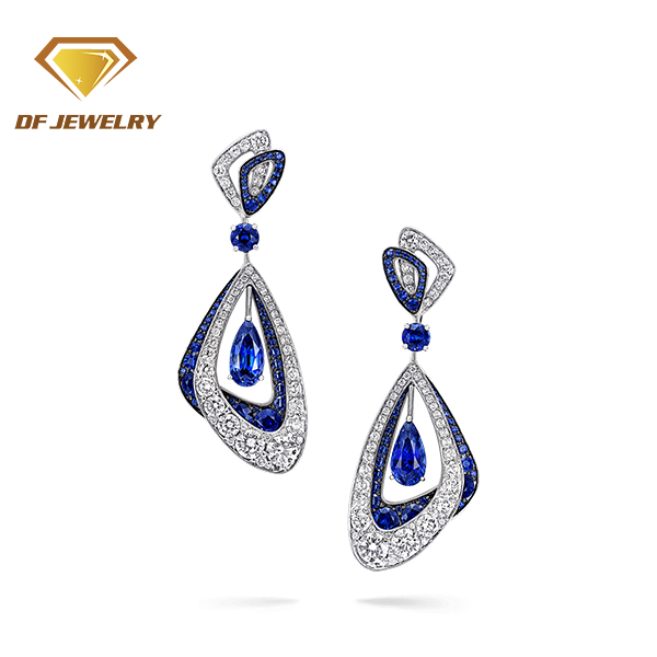Christmas Gift Long Hanging Sapphire Blue Zircon 18K Gold Earring Drops